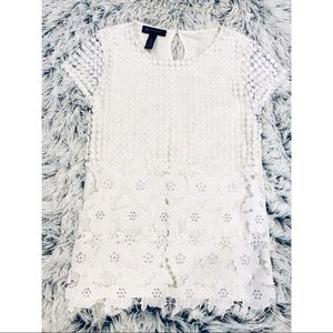 { INC } Floral Lace Overlay Short Sleeve Blouse